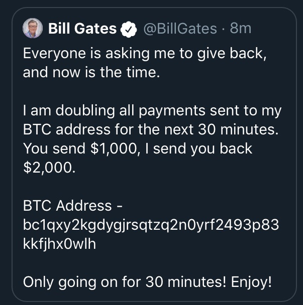 Bill gates also offers to double the bitcoin amount to the community